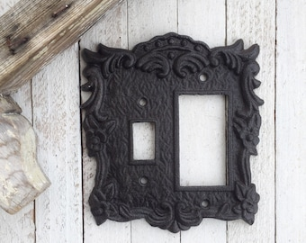 Metal Wall Decor, Light Switch Cover/ Decora Combo Switch Plate Cover, Rocker Switch Plate, Ornate, New House, STYLE 135