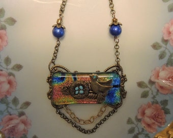 Fused Glass Assemblage With Bird And Nest - Dichroic Glass Necklace
