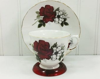 Queen Anne  Burgundy Rose Tea Cup and Saucer Ridgway Potteries Bone China Tea Set Pattern 8429