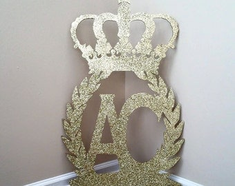 Personalized Crown with Wreath Wood Sign