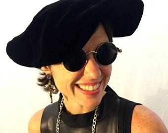 Vintage hat black hat velvet hat 60s/70s/80s hat fancy hat