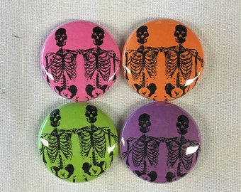 SKELETON FRIENDS Magnet or Pinback Button 1""