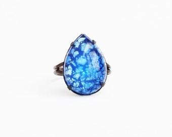Blue Opal Ring Sapphire Sea Blue Glass Ring Aquamarine Vintage Harlequin Fire Opal Ring Royal Blue Victorian Opal Jewelry