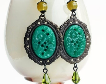 Emerald Green Glass Chandelier Earrings Long Vintage Green Jade Glass Dangles Statement Earrings Cabochons Emerald Jewelry