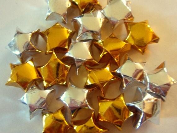 Origami Stars - 20 Silver and/or Gold Metallic Foil Origami Lucky Stars - Confetti, Table Decor, Gift Enclosure, Embellishment, Etc