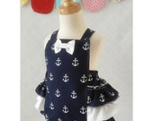 Baby Girl Romper - Nautical Romper - Birthday Romper - Girl Anchor Romper - Girl Ruffle Romper - Cake Smash Outfit  - Snap Crotch Sunsuit