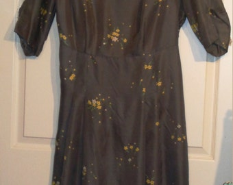 Vintage 40s Gray Rayon Yellow Floral Side Zip Dress XXL B50 Sensibly Young