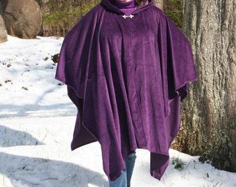 Amethyst Velour Hooded Poncho or Cape - Purple Velvet Cloak Silver Fleur De Lis Clasp