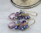 Amethyst Cluster Earrings Peacock Pearl Amethyst Tanzanite Iolite Wire Wrap 14kt Gold Fill Earring Peacock Pearl Cluster Pink Quartz
