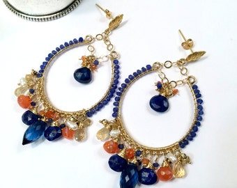Blue Hoop Earring Gold Hoop Earring Blue Gemstone Chandelier Hoop Earring Colorful Statement Blue Lapis Beaded Boho Chandelier Ready to Ship