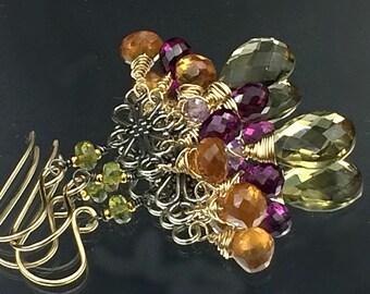 Gemstone Chandelier Earrings Wire Wrap Gold Fill Oxidized Silver Mixed Metal Earrings Olive Green, Hessonite, Rhodolite Garnet Earrings