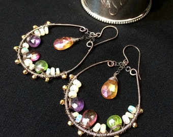 Multicolor Gem Hoop Earrings Wire Wrap Oxidized Silver Hoops Amethyst Ethiopian Opal Pink Topaz Exotic Unique Handmade Bohemian Earrings