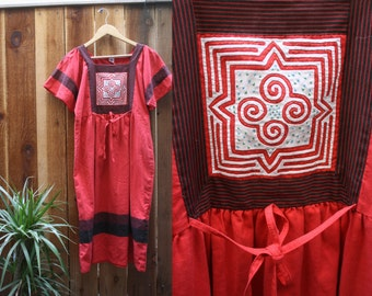 MONG  Handwork Vintage Cotton Bohemian Summer Dress 60s 70s Freepeople