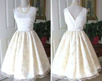 WEDDING DRESS - 1960s Style - Satin Lace - Classic Bridal Dress - Audrey Hepburn Style - Retro Wedding Dress - Mid Century Wedding