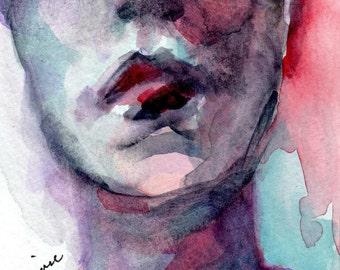 Romantic Art, New Size Watercolor Print, 4 x 6, Female Figure, Red Lips, Wall Art Giclee,  Figurative Art, Female Portrat, Portrait Art