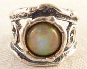 Vintage Size 6.25 Natural Openwork Sterling Faux Opal Ring