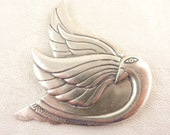 Vintage Flat Sterling Exaggerated Line Peaceful Swan Bird Brooch