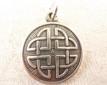 Vintage Celtic Design Round Medallion Sterling Charm