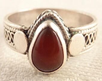 Vintage Size 7 Teardrop Carnelian Sterling Ring