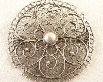 Large Round Vintage Sterling Filigree Floral Pattern Brooch Made in Palestine