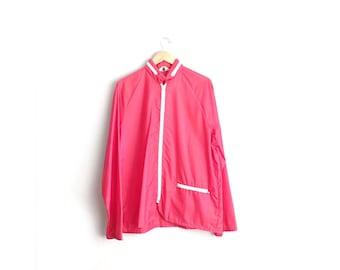 Size L // NYLON RAIN JACKET // Red Cover-Up Jacket - Vintage '70s.