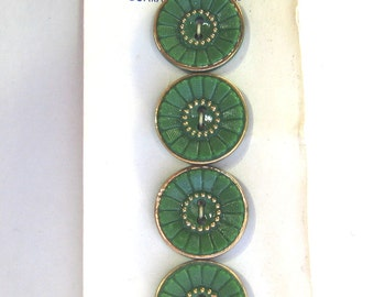 """Original card of 11/16"""" Green Glass Buttons with Gold Luster 7439-8"""