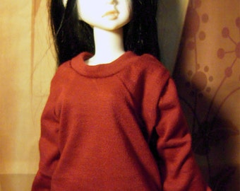 Burgundy red sweatshirt for MSD, DIM Happy, 1/4 bjd DOLL