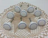 White Porcelain Ceramic Knobs  with blue ring Vintage Porcelain Drawer Pull Knobs