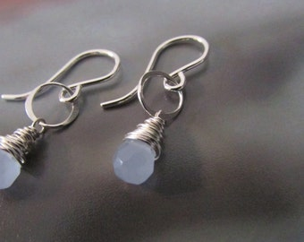 Blue Chalcedony Drop Earrings