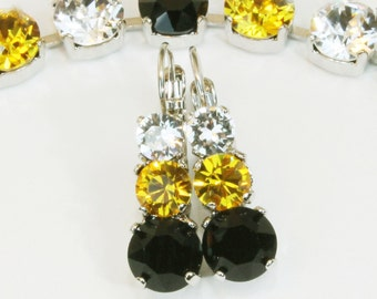 Yellow Black Earrings Pittsburgh Steelers Earrings Pittsburgh Pirates Earrings,Pittsburgh Penguins Earrings Swarovski Crystal,Silver,SE45