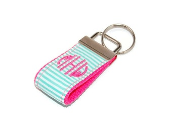 Mint Seersucker and Pink Mini Monogrammed Keychain Custom Embroidered Initial Letter 3 Letter Key fob