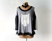 Grey Grunge Shirt Owl Applique Cut Out Open Shoulder Bell Sleeve Top Up Cycled Clothing Slouchy Tunic Eco Friendly Boho Shabby Top M L 'LEAH