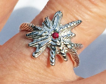 Sterling Silver & Red Ruby Starburst Ring