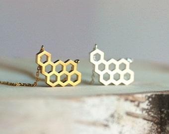 Honeycomb Hexagonal Shaped Gold or silver toned necklace,Collarbone Necklace,Gift for her,Gift for wife,Gift for daughter,Honeycomb