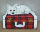 West Highland Terrier on Vintage Red Plaid Suitcase 11x14 Original OIL Painting by Lara Pet Portrait Westie