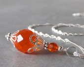 Orange Bridesmaid Jewelry Bridesmaid Necklace Gift Glass Bead Pendant Sterling Silver Chain 16 18 20 Inch Beaded Jewelry Tangerine Wedding