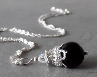 Black Pearl Pendant Necklace with Swarovski Crystals on Sterling Silver Chain 16 18 20 Inch Bridesmaid Jewelry Prom Jewelry Black Necklace
