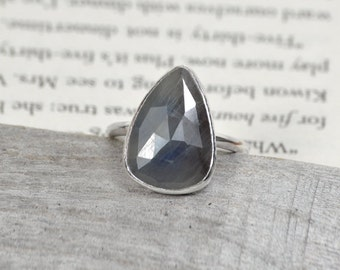 Rose Cut Sapphire Ring, Over 6ct Raindrop Sapphire In Air Force Blue And Charcoal