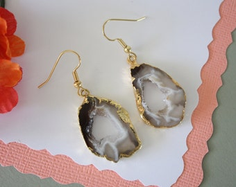 Geode Earrings Gold, Crystal Slice Earrings, Agate, BoHo Jewelry, Druzy Gold Earrings, Drusy Earrings, GGE38
