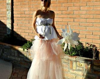 Maternity Wedding Dress-Fairy Wedding Dress-Unique Wedding Dress-Jolie Maxi Tissue Linen Layered Tulle Pregnant Bride Chic