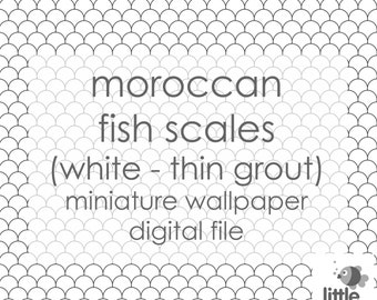 """Digital download - """"Moroccan fish scales - white with thin grout"""" - miniature dollhouse wallpaper"""