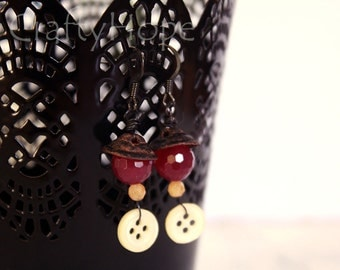 Rusty Plum and Button Earrings