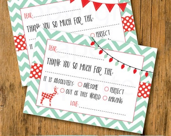 Christmas Kid's Fill In The Blank Thank You Card -  Thank You Children's Card - Holiday Fill In The Blanks - Kids Thank You Notes