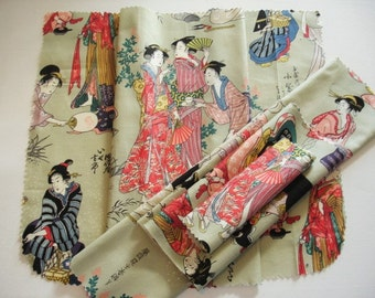 "KNITTING BAG APRON - Ready To Sew - Alexander Henry Asian fabric ""stroll by the edogawa"" Rare 1999 - Allow 3 weeks for delivery"