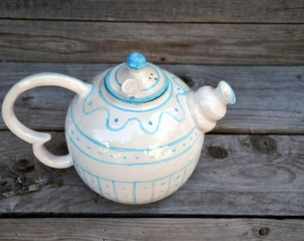 Rustic Stoneware Teapot with blue decoration   - Stoneware teapot