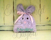 LARGE Minky Bunny Treat Bag for Baby or Easter Basket, Personalized with Name, Initial or Monogram, Spring Decoration