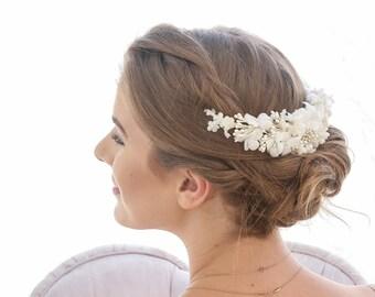 Ivory Vintage Wedding Headpiece Flower Comb Velvet Flower Crown, Vintage Flower Decorative Comb Bridal Head Piece