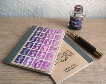 Plum Purple A6 Notebook   lined kraft journal   Quirky British gift   upcycled retro postage stamp mail art   eclectic ombre stationery gift
