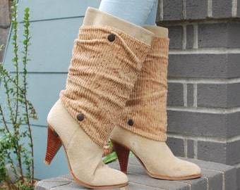 Vintage 80's Slouchy Suede and Corduroy High Heel Boots