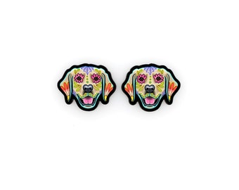 Golden Retriever Earrings - Day of the Dead Sugar Skull Dog Post Earrings